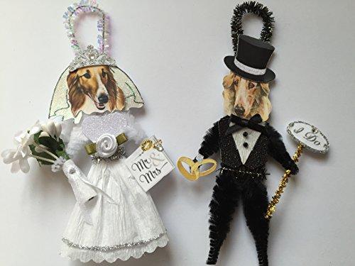 Borzoi BRIDE & GROOM WEDDING ORNAMENTS Vintage Style Chenille Ornaments Set of 2