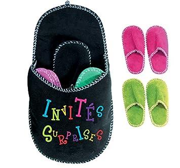 nouveau produit f5b1b a73e7 4 paires de chaussons pantoufles dans un chausson géant - invités, famille  - Noir