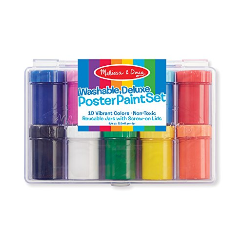 Melissa & Doug Deluxe Poster Paint Set With 10 Bottles of Washable Paints