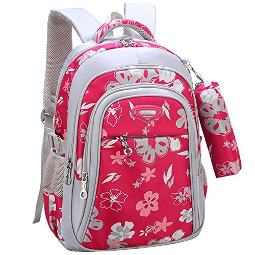 Backpack for Girls, Wraifa Flower Printed Primary Junior High School Bag Bookbag