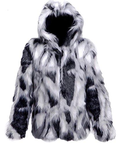 Men's Unique Color-blcok Fake Mink Faux Fur Coat Short Jacket Coat with a Hood 2XL As Picture ()