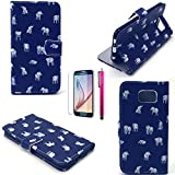 iPhone 5S Case, JCmax Elephant Pattern Top Grade PU Leather Wallet Cover With [Build In Stand] Flip Magnetic Closure For iPhone 5S-(1 x screen protector film 1 x stylus pen)White Elephant