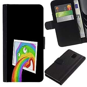 NEECELL GIFT forCITY // Billetera de cuero Caso Cubierta de protección Carcasa / Leather Wallet Case for Samsung Galaxy Note 3 III // Divertido abstracta del arte pop del arco iris