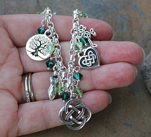 Silver Plated Deluxe Celtic Knots Charm Bracelet, Heavy Sterling Silver Chain, Green Crystals- Size XL (8.5 Inches (Extra Large)) by Night Owl Jewelry (Image #5)