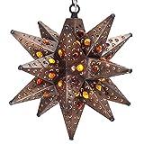 Moravian Star Light, Flower Pierced Tin, Amber Marbles, Bronze, 12''