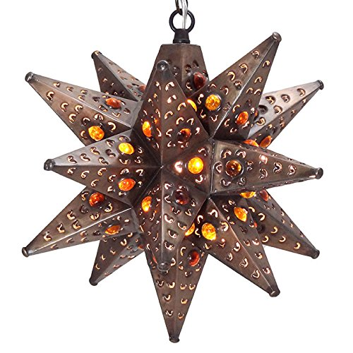 Moravian Star Light, Flower Pierced Tin, Amber Marbles, Bronze, (Amber Marble Ceiling Lighting)