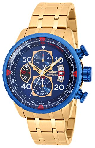 Invicta 19173 Men's Aviator Chronograph 18K Gold Plated Stee