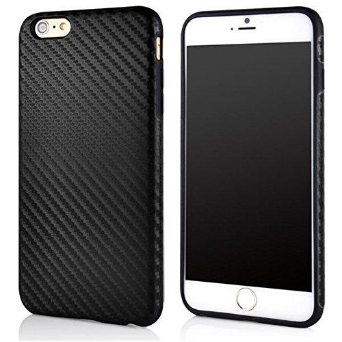 "iPhone 6 Case, AllinoMarket iPhone 6 Case 4.7"" Luxury Carbon Fiber Flexible Hybrid Rubberized Interior Ultra-Slim Soft Case Cover for Apple iPhone 6 4.7 Inch (Carbon BLACK)"