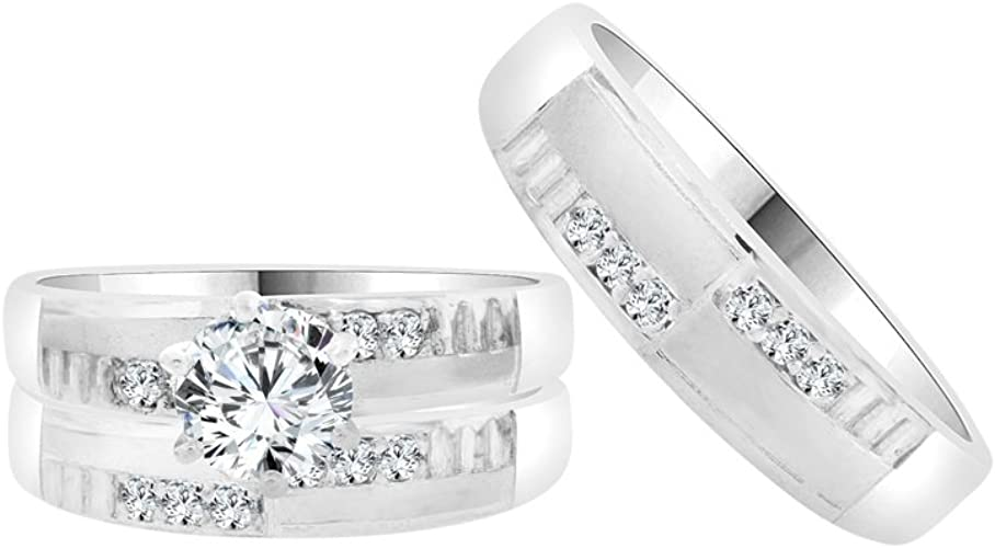 Amazon Com 14k White Gold Trio 3 Piece Set Wedding Rings Round