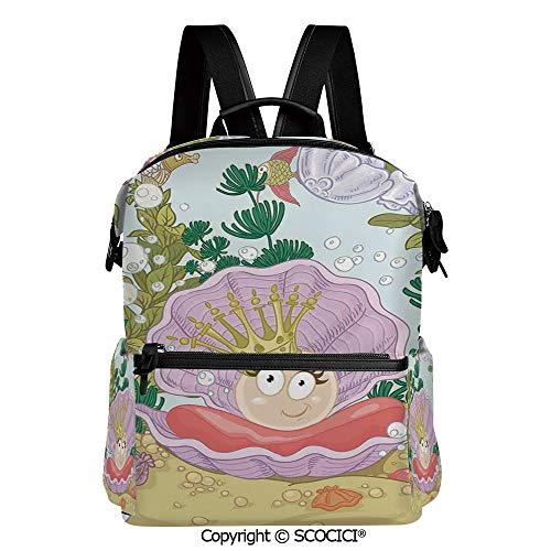 SCOCICI Outdoor Travel Casual Bag Colorful Daypack,Cute Princess Pearl in Clam with Crown Tiara Reef Cartoon Print Baby Girl Nursery Print,L11.4xW6.3xH15 Inches