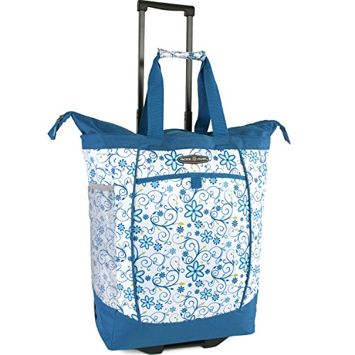 Folding Shopper - Pacific Coast Signature Large Rolling Shopper Tote Bag, Blue Daisy