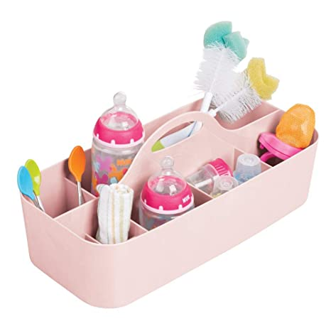 mDesign Cesta organizadora para cuarto de bebé – Práctica caja con asa y 11 compartimentos, sin tapa – Organizador de juguetes, pañales, peluches y ...