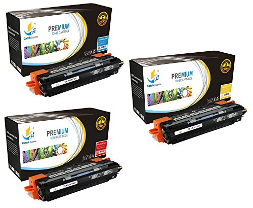 Catch Supplies 309A 3-Pack Premium Color Q2671A Q2672A Q2673A Replacement Toner Cartridge Compatible with HP LaserJet 3500 3500N 3550 3550N Printers |Cyan, Magenta, Yellow| (Replacement Q2671a)