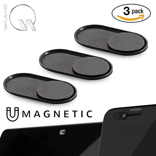 QUANTUM EYE - MAGNETIC (Black) - NEWEST ULTRA THIN MAGNETIC SLIDER METAL WEBCAM COVER for iPhone Android Laptops Macbooks Tablets Smartphones -for PRIVACY and PROTECTS against camera hacks (3-PACK) by Quantum6