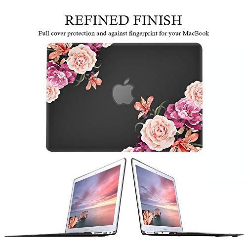 "iLeadon MacBook Pro 13 Inch Case with Retina Display 2012-2015 Release Model A1425/A1502 Rubberized Hard Shell Cover+Keyboard Cover for MacBook Pro 13"" Retina Non CD ROM, Peony Flower"