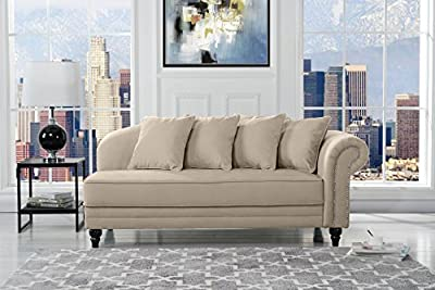 Large Classic Velvet Fabric Living Room Chaise Lounge with Nailhead Trim