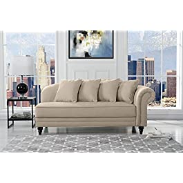 Sofamania Large Classic Velvet Fabric Living Room Chaise Lounge with Nailhead Trim