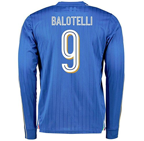 2016-2017 Italy Long Sleeve Home Shirt (Balotelli 9) by UKSoccershop