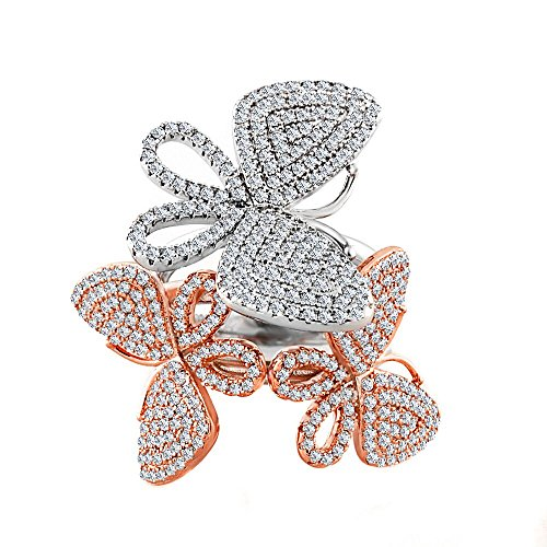 Elegant J. NY 14kt Gold Plated Triple Two-Toned Silver/Rose Gold Dainty Butterfly Statement Rings with CZ Crystals for Women (6)