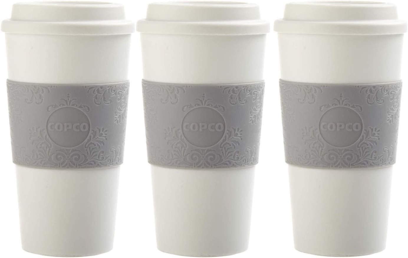 Copco Acadia Travel Mug, 16-Ounce, 3 Pack Bundle (Damask Gray)