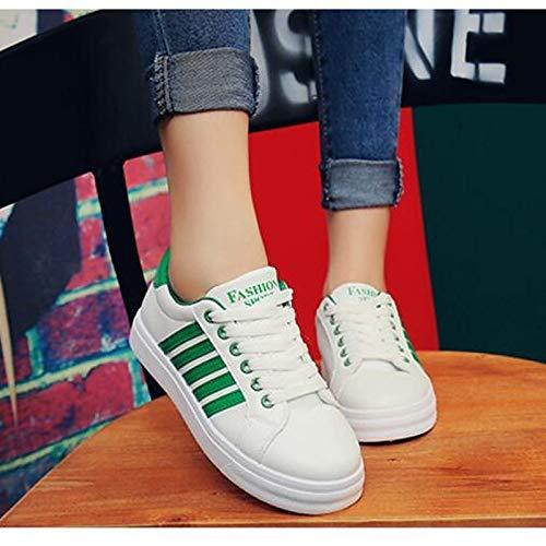 Sneakers Nero poliuretano Tacco Punta ZHZNVX Estate piatto donna tonda Verde Primavera da Comfort Rosa PU Green Scarpe 88IRO