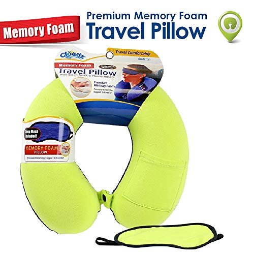 Cloudz - Memory Foam Neck Pillow with Sleep Mask: Neon Green Spandex/Black Plush ()