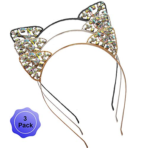 Cat Ears Headband Rhinestone Cat Hair Bands Crystal Halloween Hair Hoop Women Girls Hairband Party Decoration Headdress Cosplay Costume Headwear Handmade Headpiece Makeup Hair Accessories 3 Pack -