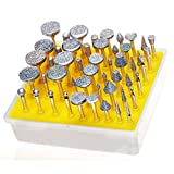 Lukcase 50pcs Diamond Coated Grinding Head Grinding Burrs Set for Dremel Rotary Tool …