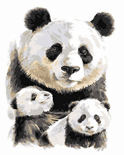 DIY Oil Paint by Number Kit for Adults Beginner 16x20 Inch - Panda and Babby Pattern,Drawing with Brushes Christmas Decor Decorations Gifts (Frameless) -