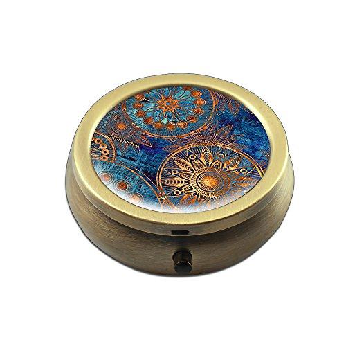 Pill Box - Cheliz Compact 3 Compartment Medicine Case, Pill Box for Pocket or Purse(Blue Compass-1) ()
