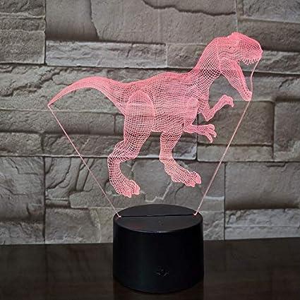 Solo 1 pcs dinosaur world world tyrannical dragon 3D lámpara con pilas colorido con control remoto moderno led lámpara de luz nocturna 2019 venta caliente