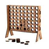 Wooden 4 in A Row Game,Sleek Design Wood Tabletop Board Game,with Carrying Color Box,Coin's Storage Bag and Rules for Game Night,Parties,Bar Game and Kid's Birthday.