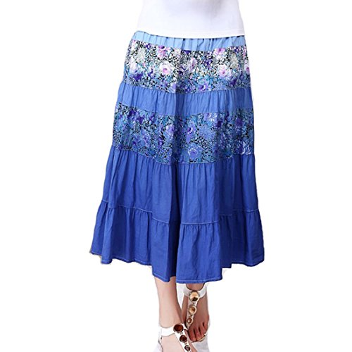 Embroidered Poplin Skirt - Women's Long A-lined Cotton Peasant Full Length Tiered Skirt Solid Embroidered Dress (Asian L=US(M), 2)