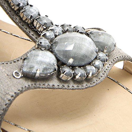 ALESYA by Scarpe&Scarpe - Sandalias bajas con aplicaciones de joyería Gris