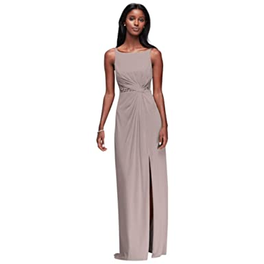 054acd7d377 Double-Strap Mesh Bridesmaid Dress with Lace Insets Style F19418 at Amazon  Women s Clothing store