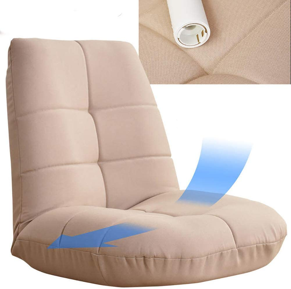 26x26inch Foldable Padded Floor Chair,Japanese-Style Cotton Folding Sofa Chair Tatami Video-Gaming Meditation Chair-Beige 65x67cm