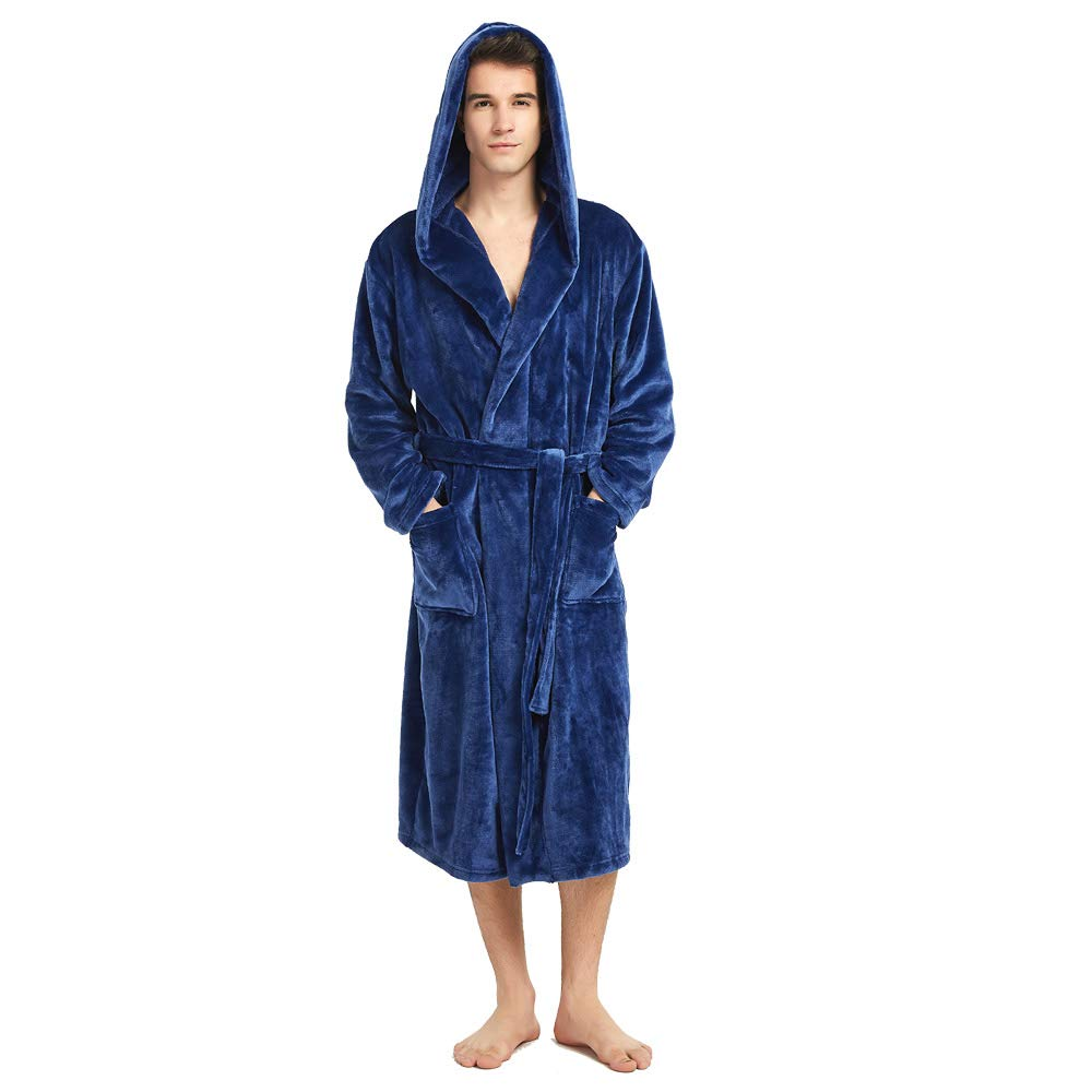 HOLOVE Mens Fleece Robe Hooded Terry Cloth Plush Soft Warm Long Bathrobe