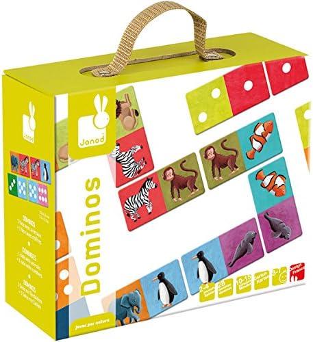 Janod - Dominó, diseño Animales exóticos (08502981): Amazon.es: Juguetes y juegos