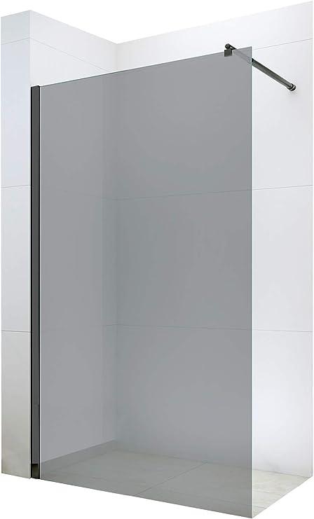 Largeur:1100mm Nano Protection-Verre v/éritable de 8mm EX101 Noir Verre Gris Largeur s/électionnable Bernstein Badshop Paroi de Douche Fixe sans Porte