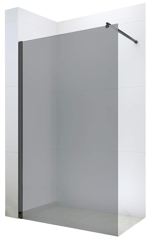 Bernstein Badshop Paroi de Douche Fixe sans Porte Nano Protection-Verre v/éritable de 8mm EX101 Noir Verre Gris Largeur:1100mm Largeur s/électionnable