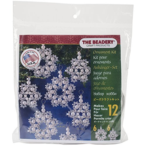 "Beadery Holiday Beaded Ornament Kit, Crystal and Pearl Snowflakes, 2.5"" Makes 12"