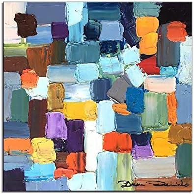 40 * 40cm HIMAmonkey 100/% Pintura Al /óLeo Pintado A Mano Cuadros Abstractos Modernos Arte de Pared sobre Lienzo Estirada y Enmarcado decoraci/ón Listo para Colgar,16*16