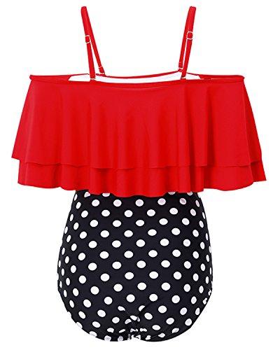 Tempt Me Women Two Piece Off Shoulder Ruffled Flounce Crop Bikini Top with Print Cut Out Bottoms