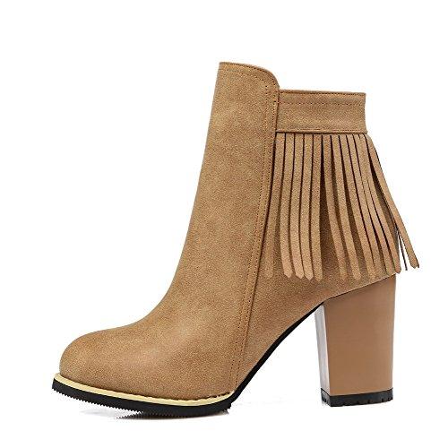 VogueZone009 Damen Rein PU Leder Reißverschluss Rund Zehe Stiefel Kamel Farbe