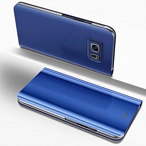 PHEZEN Galaxy S7 Case, Luxury Mirror Makeup Case Plating PU Leather Flip Folio Wallet Case [Kickstand Feature] Magnetic Closure Full Cover Case for Samsung Galaxy S7 (Blue) by PHEZEN