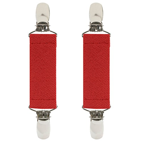 """Hold'Em Boot Straps Elastic EXTRA STRONG METAL CLIP Made in USA Comfortable and Easy to Use Keeping Pants Smoothly and Nicely Tucked in Boots - 4"""" Inch (Red Usa Metal)"""