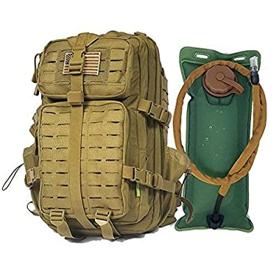 Tactical Backpack + Hydration Bladder with Emergency Tools & Survival Gear, Hiking Camping Bug Out Bag Kit