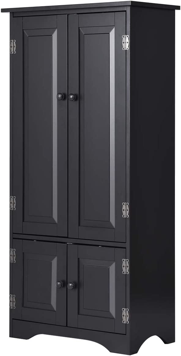 "Giantex Accent Floor Storage Cabinet Adjustable Shelves Antique 2-Door Low Floor Cabinet Pantry 24"" Lx13 Wx49''H (Black): Kitchen & Dining"