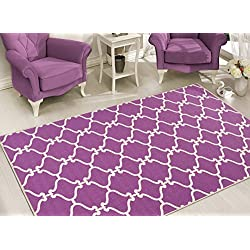 Sweet Home Stores Clifton Collection Moroccan Trellis Design Rubberback Area Rug, Purple