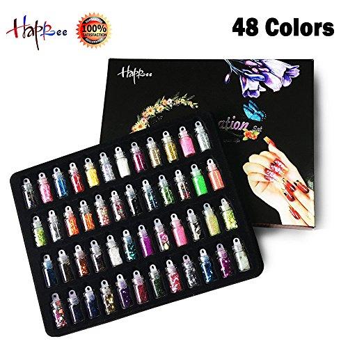 Happlee 3D Nail Art Decoration Set Mini Bottles Nail Glitter Powder, Colored Nail Art Supplies Sequin Rhinestones Decoration, for Scrapbooking, Face, Nail, Eye, DIY Craft, Drawing (48 - To Glasses Shape According Face
